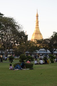 Park with Sule Pagoda in the background