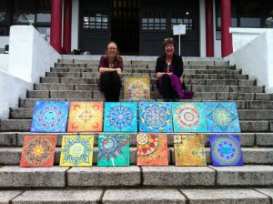 Organisers Katie and Claire with the group's finished mandalas