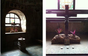 Small alter in the tiny crypt under the little church