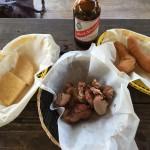 Jerk pork and Red Stripe beer! A feast!