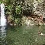 swimming in rock pool